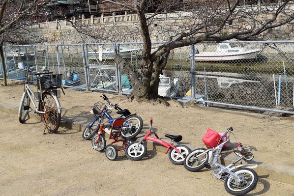 奥には観音院さん。瀬戸内海に繋がる川を挟んで向州公園があります。自転車と三輪車とママチャリ。どれも何気ないものながら、シミジミ嬉しいです。