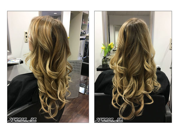 beige blond balayage vorher nachher coloration haarfärbung