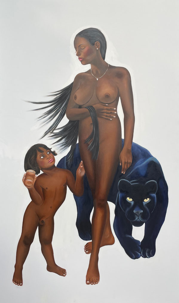 Venus with Amor as Honeythief/Two, Oil on Canvas, 200 x 120 cm, 2020.