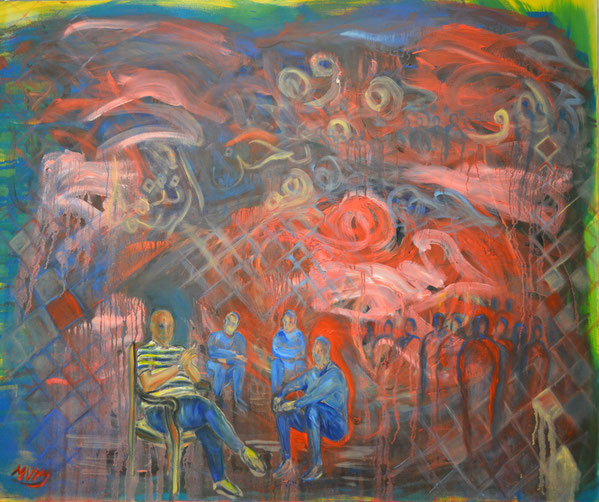"""""""Listening to History (Learning from the Past)"""", 1.2 m by 1 m, March 2016, Acrylic and Oil on Canvas."""