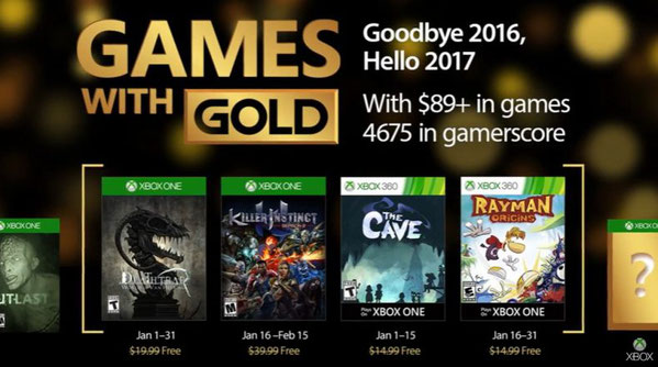 Games with gold - Xbox janvier 2017
