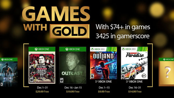Games with gold - Xbox décembre 2016