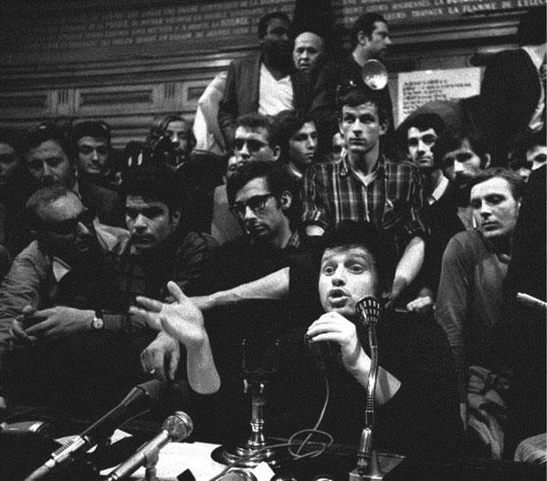 Libertære oprørere i Paris-Nanterre i 1968 (forrest: Daniel Cohn-Bendit)
