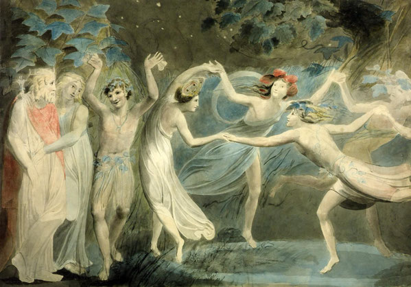 "ウィリアム・ブレイク「「Oberon, Titania and Puck with fairies dancing"" 」(1786年)"