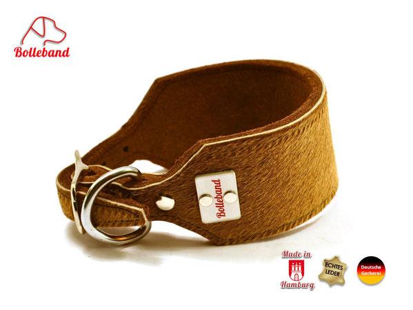 Windhundhalsband aus Fettleder mit Kuhfell von Bolleband