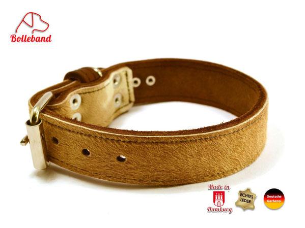 Hundehalsband aus Leder mit aufgenähtem Kuhfell Bolleband