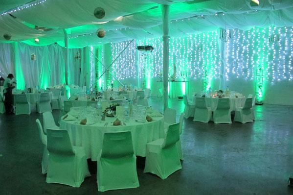 Lumières décoratives, éclairages d'ambiance, salle de mariage La Bruche Animation Pau Tarbes Pyrénées