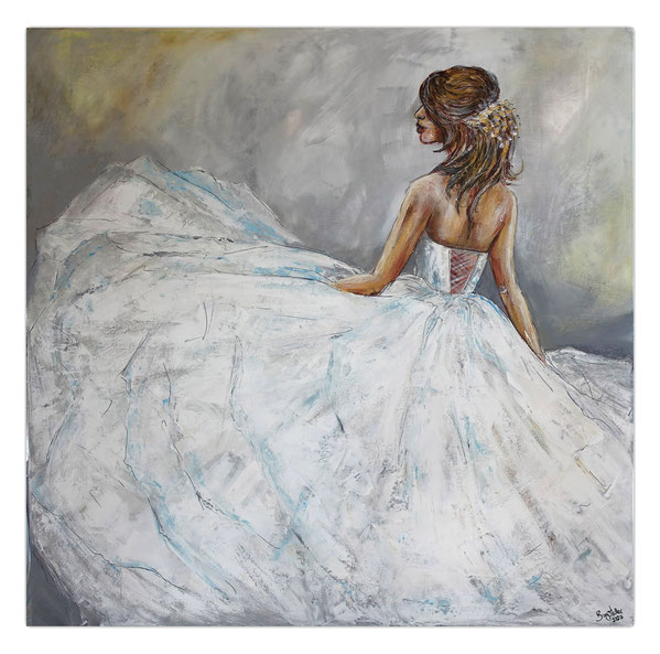 Goldenes Haarband Braut Brautmoden Ballerina Gemälde Acrylbild Wandbild
