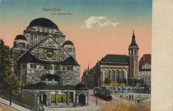 Die Alte Synagoge und die Alt-Katholische Friedenskirche auf einer alten Postkarte