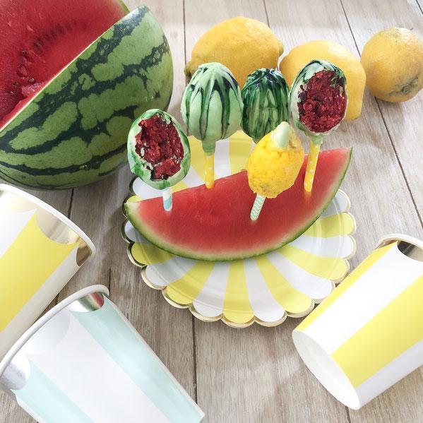 Wassermelonen und Zitronen Cake Pops