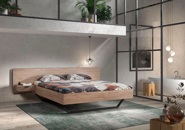 Slaapkamer Toscane gevingerlast eiken met metalen onderstel