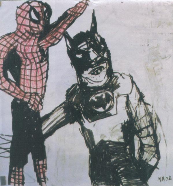 Spiderman & Batman / 2002 / Acrylique, markers et craies sur papier / 50x50 cm / collection particulière