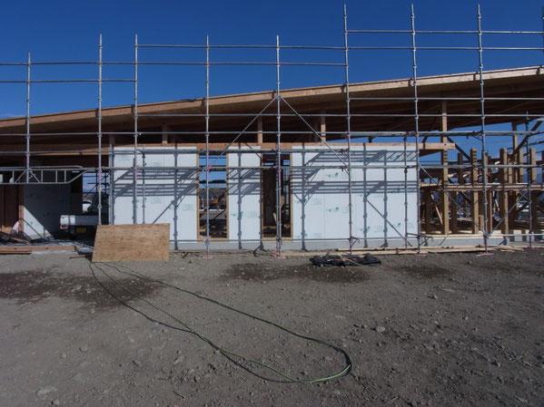 ヤマショー 薪ストーブショールーム 安曇野市 建築家 建築設計事務所 店舗設計 現場監理 耐力面材 モイス