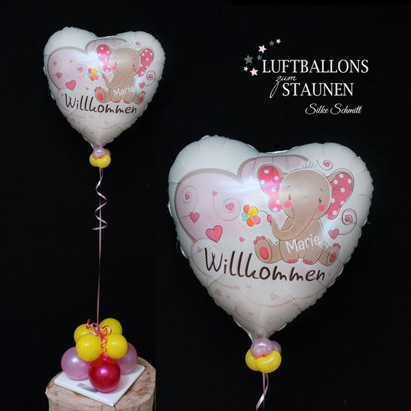 Ballon Folienballon Heliumballon Luftballon Baby Girl Boy Willkommen Name Personalisierung mit personalisiert Geburt Überraschung Mitbringsel Krankenhaus Mutter Mami Kind Nachwuchs Familie Party Deko Dekoration Begrüßung begrüßen Ballonpost Versand Gruß