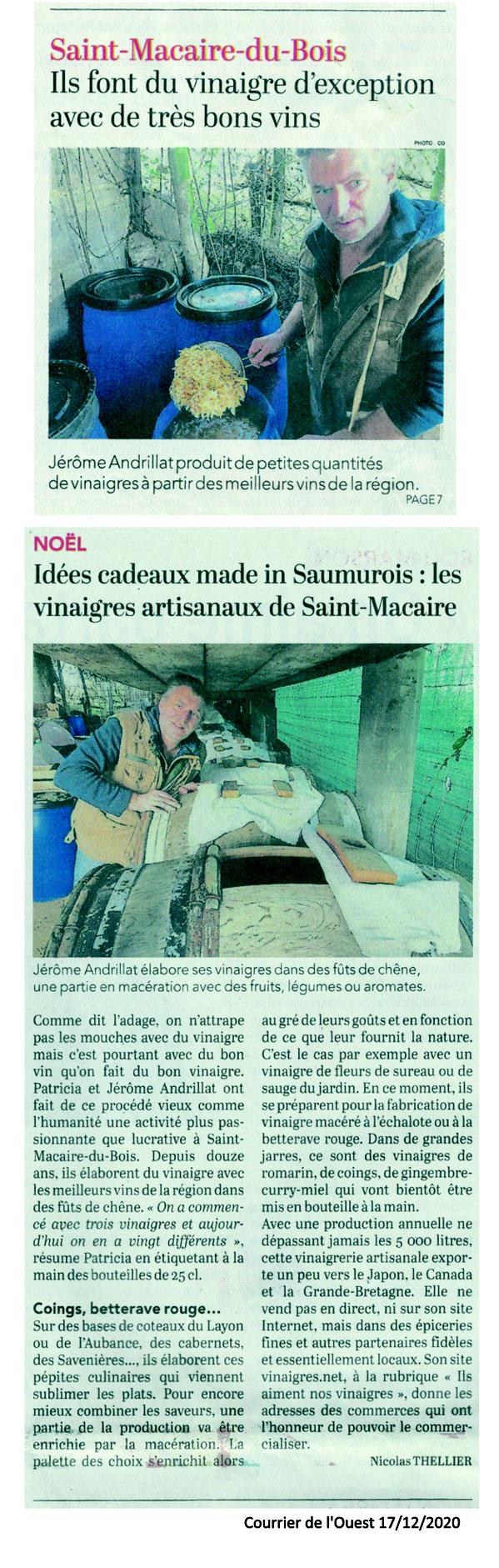 Courrier de l'Ouest Saumur du 17 décembre 2020