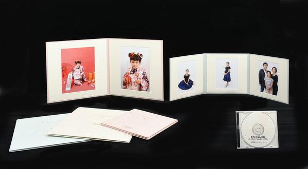 商品、和紙調6切2面台紙・キャビネ3面台紙とデータCD