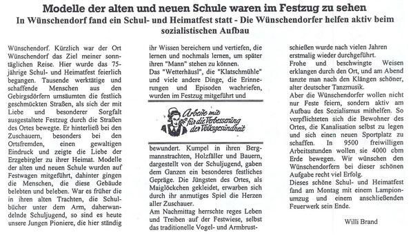 Bild: Teichler Wünschendorf Erzgebirge Heimatfest 1952