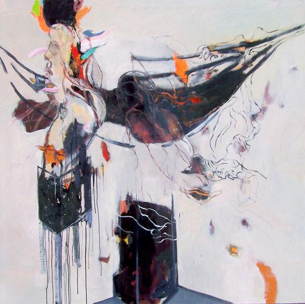 Britta Clausnitzer, Deathmask,  2017,  Öl auf Leinwand, 143 x 143 cm