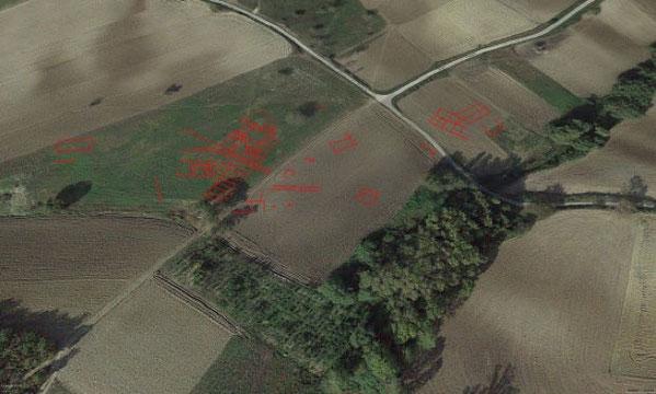 Interprétation de l'endroit où les sites antiques pourraient être, photo aérienne prise par un drone dans la zone de Pianelle. Credit: A. Hamel