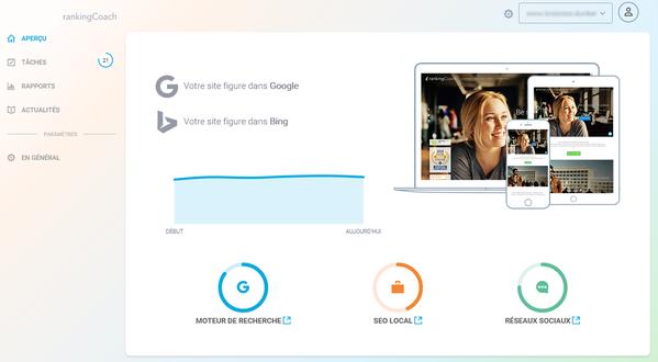 rankingCoach integrato su Jimdo analizza l'ottimizzazione del tuo sito