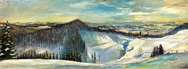 Erwin Bowien ( 1899-1972): Werkverzeichnis N° 178 - Winterlandschaft mit Alpenkette bei Isny, 1944