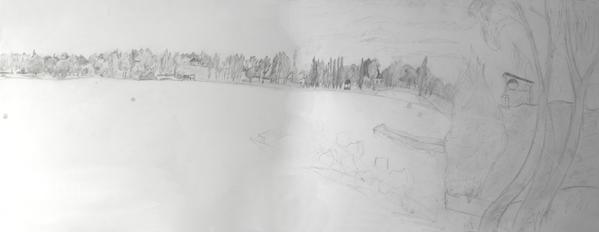 36 - L'étang de Sault 2 - Dessin préparatoire