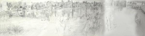 36 - L'étang de Sault l'automne 1 - Dessin  préparatoire