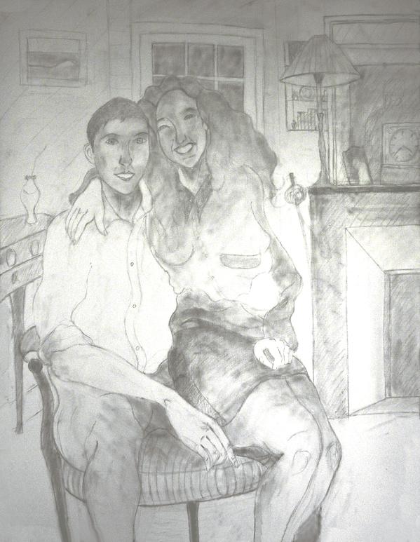 35  - Les Amoureux - Dessin sur la toile à peindre