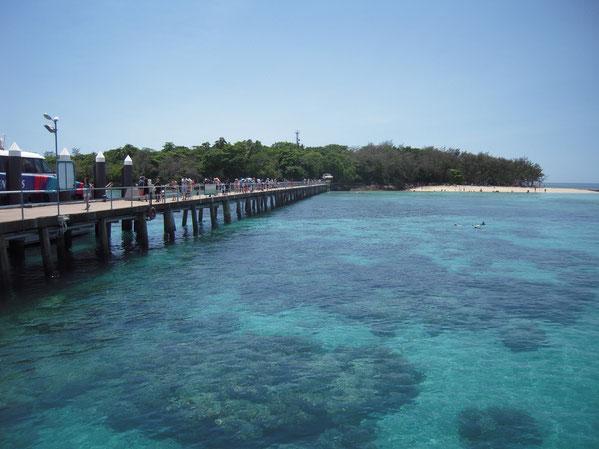 桟橋から見たグリーン島の写真