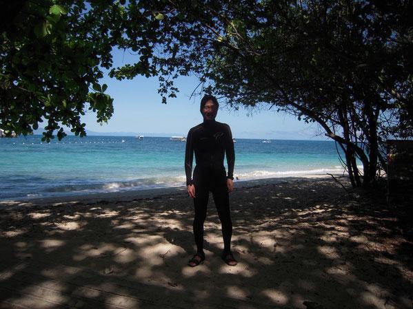 メインビーチをバックにしての写真