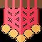petit dessin d'un macramé mural avec perles rose