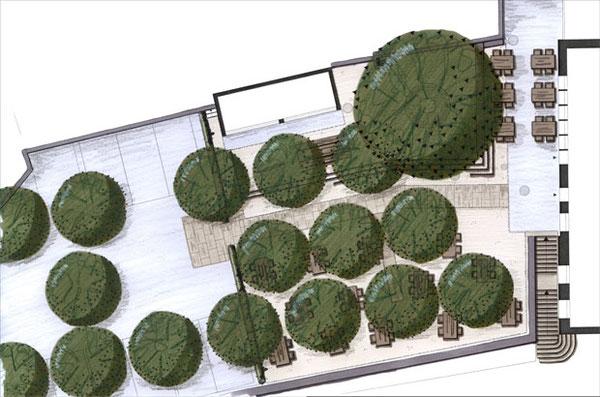 Konstanz, Hausgarten, moderne Gartengestaltung mit Gräserbepflanzung im Vordergund. Sitzplatz mit Korbsesseln und weißem Sonnenschirm