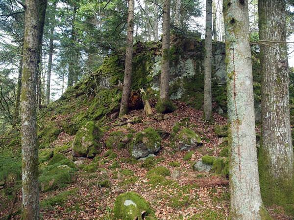 Felsen auf welchem die Burg stand
