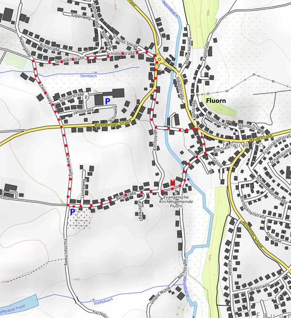 Rot = Wanderroute - Strecke ca. 3 km