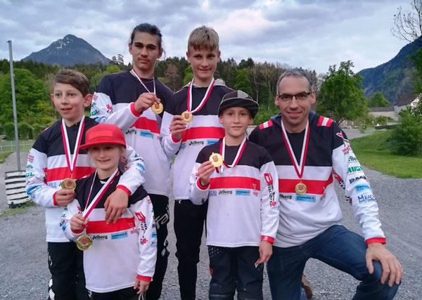 Vorarlberger BMX-Landesmeister 2019: F.Mähr, L.Fercher, F.Ender, B.Schedler, L.Fercher, A.Hugl;