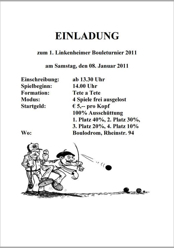 Einladung Turnier in Linkenheim