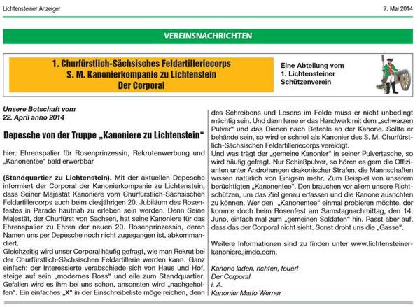Lichtensteiner Stadtanzeiger vom Mai 2014