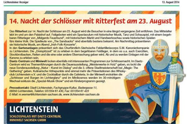Lichtensteiner Stadtanzeiger vom August 2014