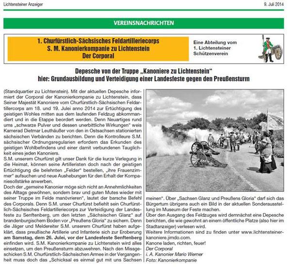Lichtensteiner Stadtanzeiger vom Juli 2014