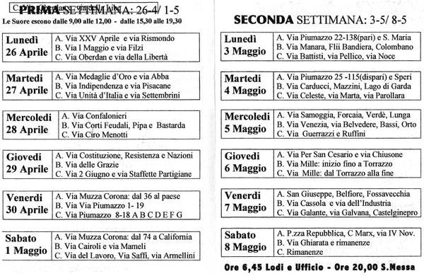 Programma della visita alle famiglie da parte delle Sorelle di San Francesco in vista della Missione Parrocchiale:17-24/10/2010