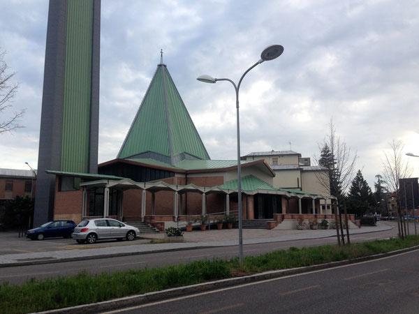 Chiesa della Madonna Pellegrina alla fine della ciclabile per Modena