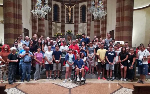 Pellegrini a Piumazzo, durante la Festa di S Giacomo 25 Luglio 2018