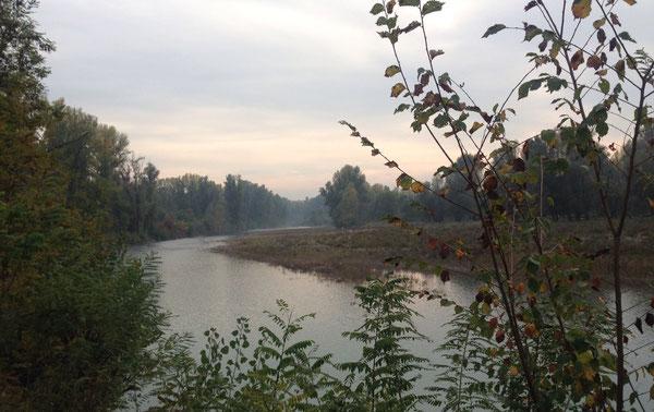 Fiume Panaro, in una sera di ottobre, dal sentiero presso i laghetti di San Gaetano, a San Cesario