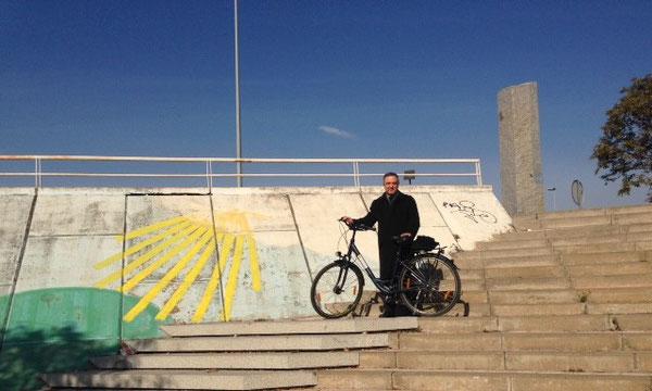 """Con una bici a noleggio, esplorazione della complicata '""""uscita"""" dalla città di Siviglia, per cominciare la Via de la Plata ..."""