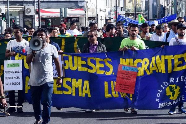 Demonstration for migranternes rettigheder i Lissabon