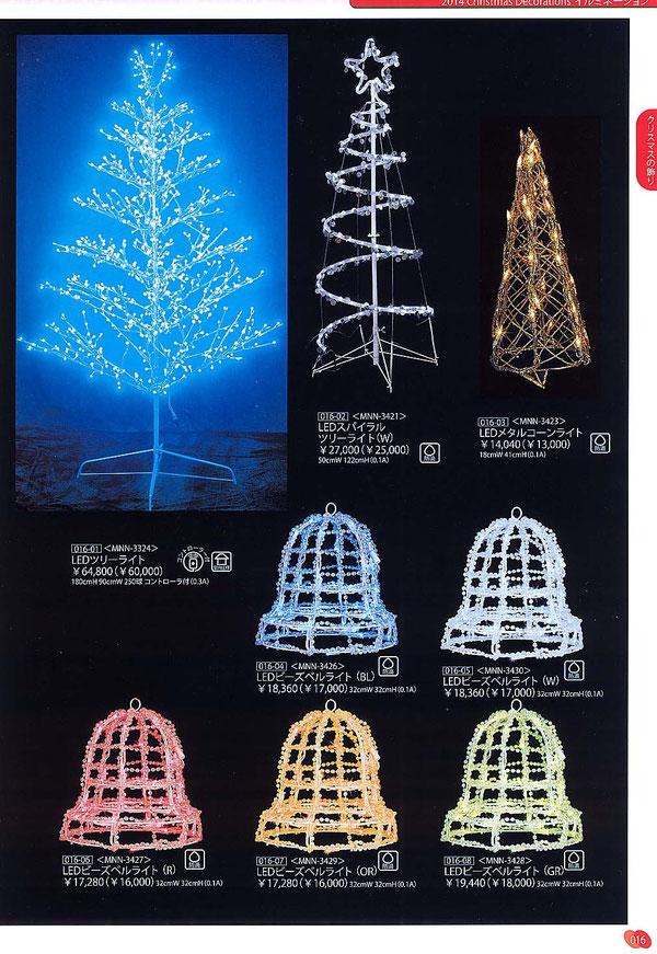 LEDのスパイラルツリー、ベルのイルミネーション