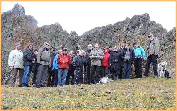 Pilzfreunde bei der Winterwanderung an den Eschbacher Klippen