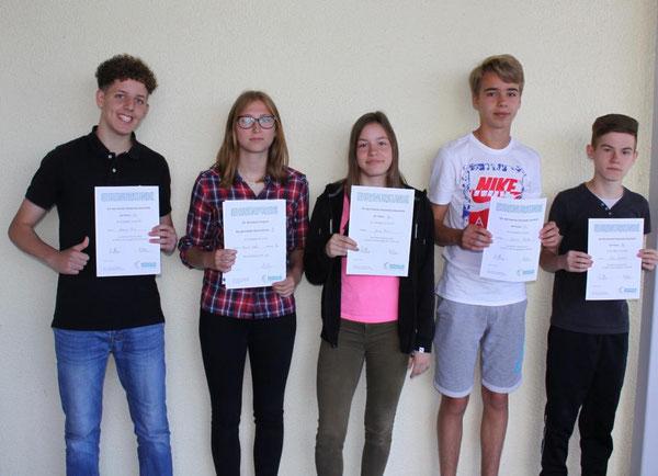 Die Preisträger der Klassenstufe 9