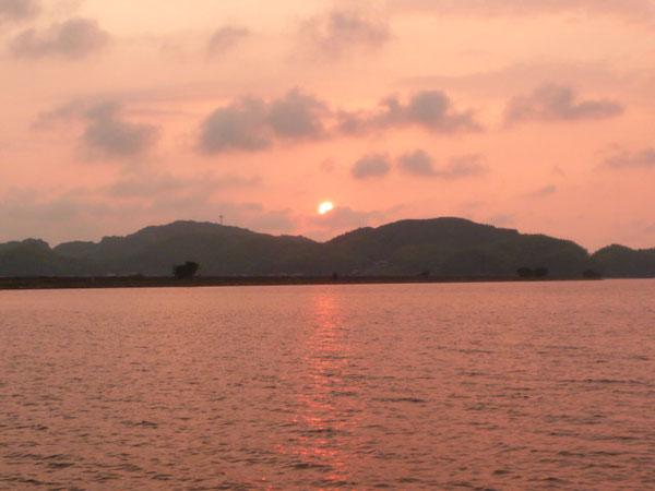 錦海団地より中海の夕景・初夏
