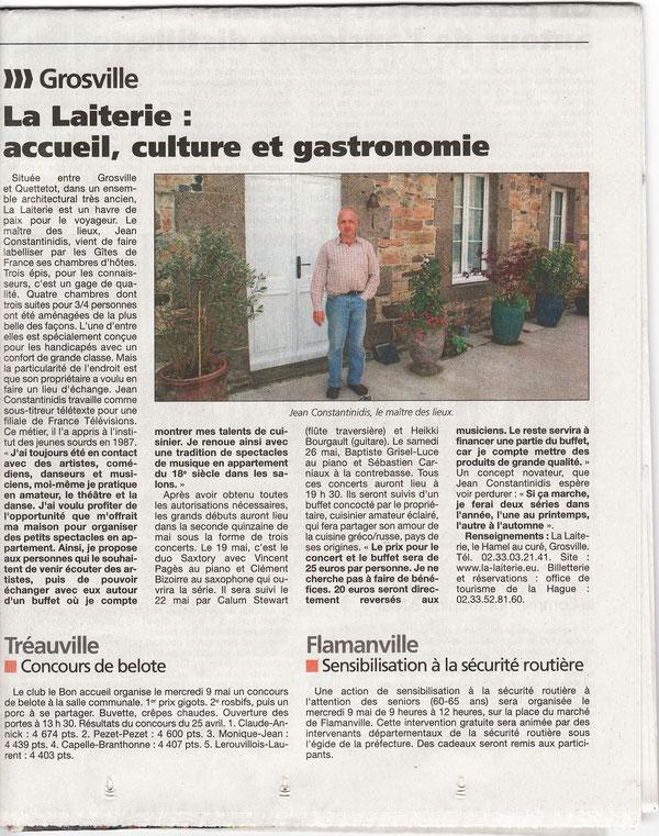 Article de la Presse de la Manche du 6 mai 2012